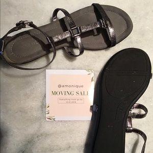dark silver faux snakeskin Nine West sandals